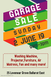 Garage Sale this Sunday 2nd June Ballarat East